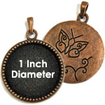 1 Inch Beaded Copper Bezel Set Pendant