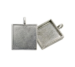 Antique Silver 3/4 Inch Square Bezel Pendant