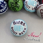 HiRES Diet Root Beer Vertical Drill Bottle Cap Bead