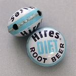 Hires Diet Root Beer Horizontal Drill Bottle Cap Bead