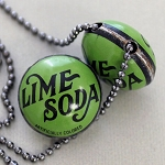 Lime Soda Horizontal Drill Bottle Cap Bead