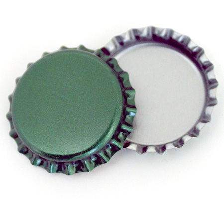 Green linerless bottle caps at bottle cap co for Pictures of bottle caps