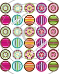 Bottle Cap Images - Mini Circles & Stripes