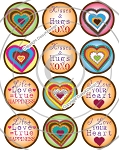 Bottle Cap Images -Funky Hearts