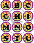 Bottle Cap Images - Groovy Heart Alphabet