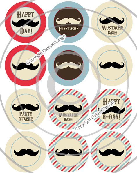 Mustache Party Printables Free
