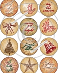 Bottle Cap Images-Vintage Scroll Christmas