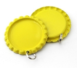 Two Sided Bright Yellow Bottle Cap Pendants - Flattened