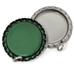 Green Bottle Cap Pendants - Flattened