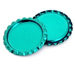 Two Sided Metallic Turquoise Bottle Caps Flattened