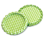Two Sided Lime Green - White Polka Dots Bottle Caps Flattened