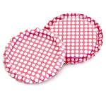 Two Sided Hot Pink - White Polka Dots Bottle Caps Flattened
