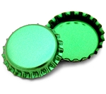 Two Sided Metallic Green Bottle Caps Standard