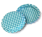 Two Sided Aqua Blue - White Polka Dots Bottle Caps Standard