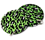 Two Sided Lime Green Cheetah Bottle Cap Pendants - Flattened