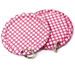 Two Sided Hot Pink - White Polka Dots Bottle Cap Pendants - Flattened