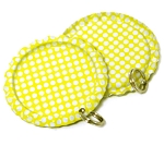 Two Sided Bright Yellow - White Polka Dots Bottle Cap Pendants - Flattened