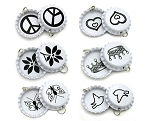 Two Sided Assorted White Bottle Cap Pendants with Black Images - Standard