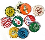 Vintage Bottle Cap Pendants -10 Different Caps