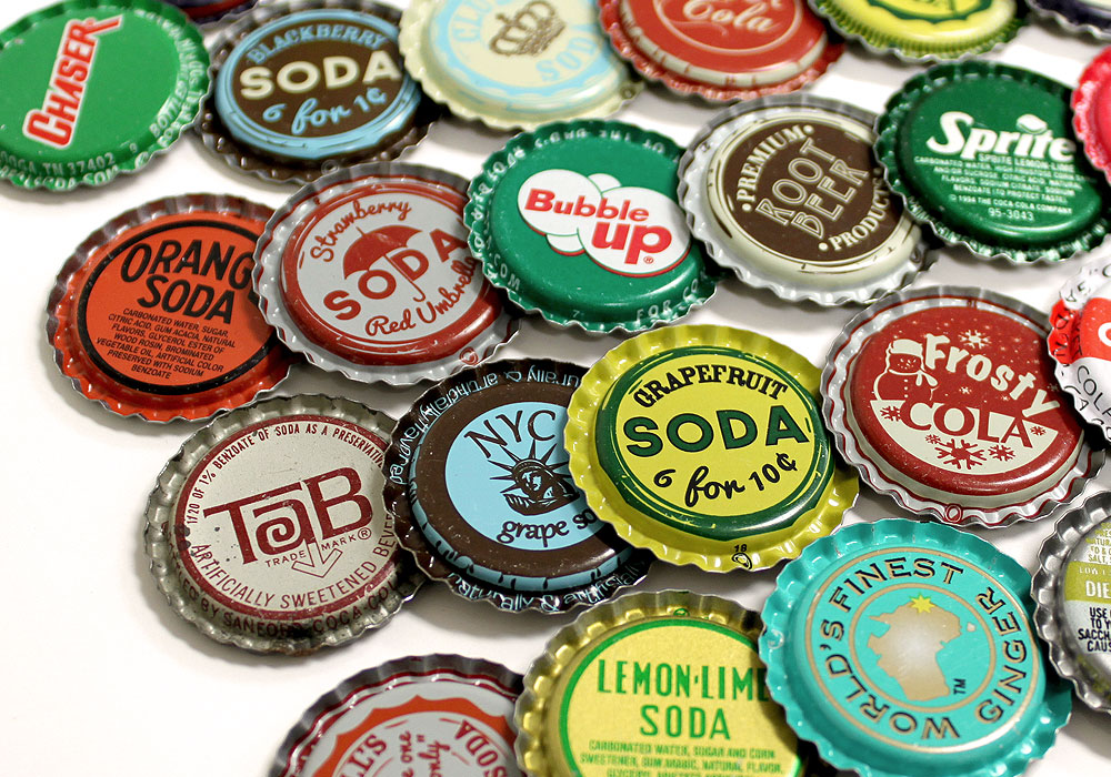 flattened random vintage bottle caps at bottle cap co