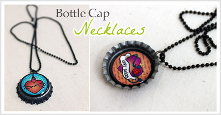 How to make a bottle cap necklace diy bottle cap necklace aloadofball Image collections