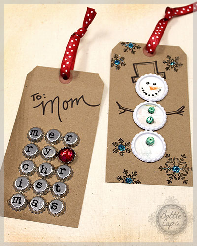 Bottle cap gift tag and christmas craft ideas for Bottle cap christmas crafts