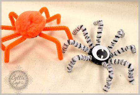 Bottle Cap Spider Kid S Craft Easy Halloween Craft How To