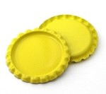 Two Sided Bright Yellow Bottle Caps Flattened
