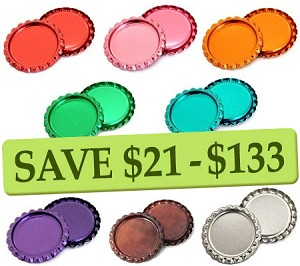 Metallic -Flattened 8 Color Two Sided Bottle Cap Combo Pack