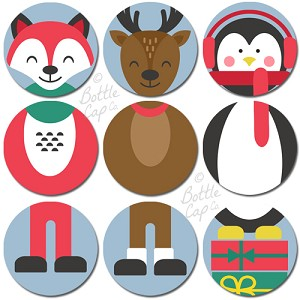 "1"" Bottle Cap Images -Christmas Character Sets 3"