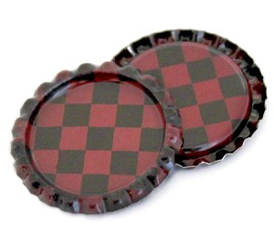 Two Sided Antique Red Checkers Bottle Caps Flattened