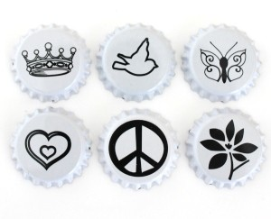 Two Sided White Bottle Caps with Black Images -Assortment