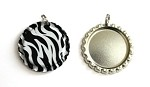 Zebra Bottle Cap Pendants - Flattened