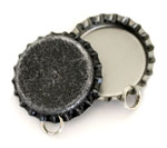 Distressed Black Bottle Cap Pendants - Standard