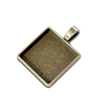 Antique Gold 3/4 Inch Square Bezel Pendant