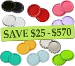 10 Color Two-Sided Bottle Cap Combo Pack Flattened