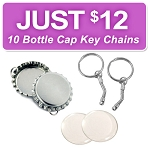 10 Bottle Cap Key Chain Discount Kit