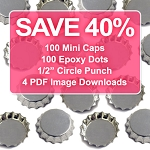 100 Mini Bottle Cap Discount Package