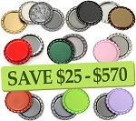 10 Color Bottle Cap Combo Pack Flattened-One Sided- RANDOM