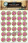 Pink Polka Dot Alphabet Bottle Cap Images - Printed