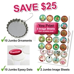 10 Jumbo Bottle Cap Ornaments Package