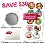 10 Super Jumbo Bottle Cap Ornaments Package