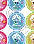 Cupcakes-1 Inch Editable Bottle Cap Images