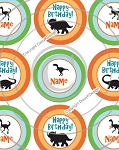 Dinosaur Birthday-1 3-4 Inch Editable Bottle Cap Images