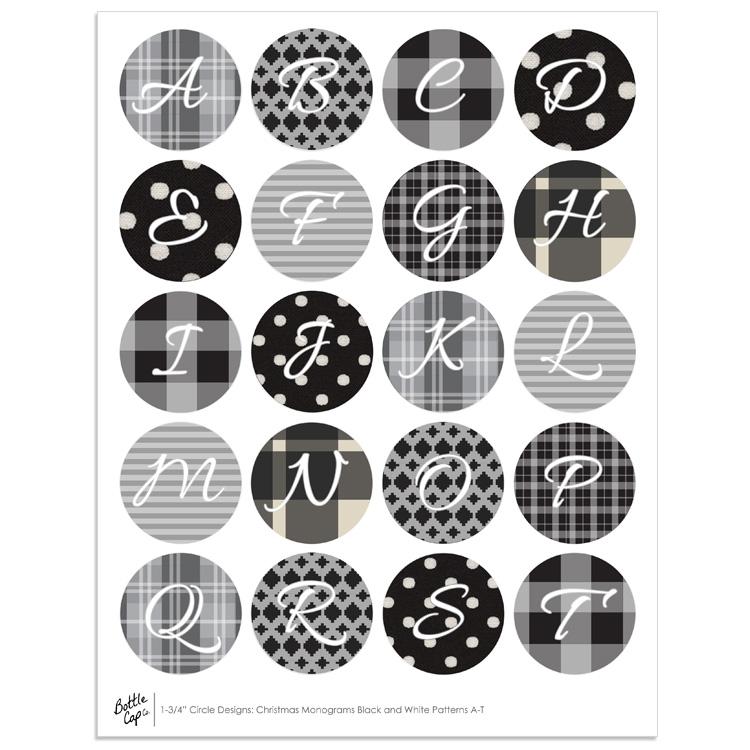 bottle cap images jumbo black and white monograms - Christmas Monograms