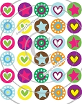 Bottle Cap Images - Mini Hearts & Stars