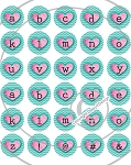 Bottle Cap Images -Mini Pink Heart Alphabet