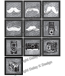 Alphabet Tile Images -Chalk Art Cameras & Mustaches