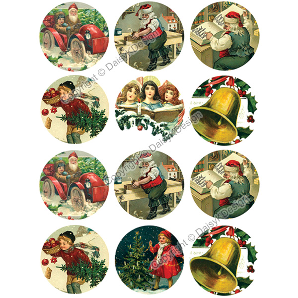 Vintage Christmas.1 Bottle Cap Images Vintage Christmas 1