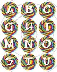 Bottle Cap Images -Lollipop Alphabet